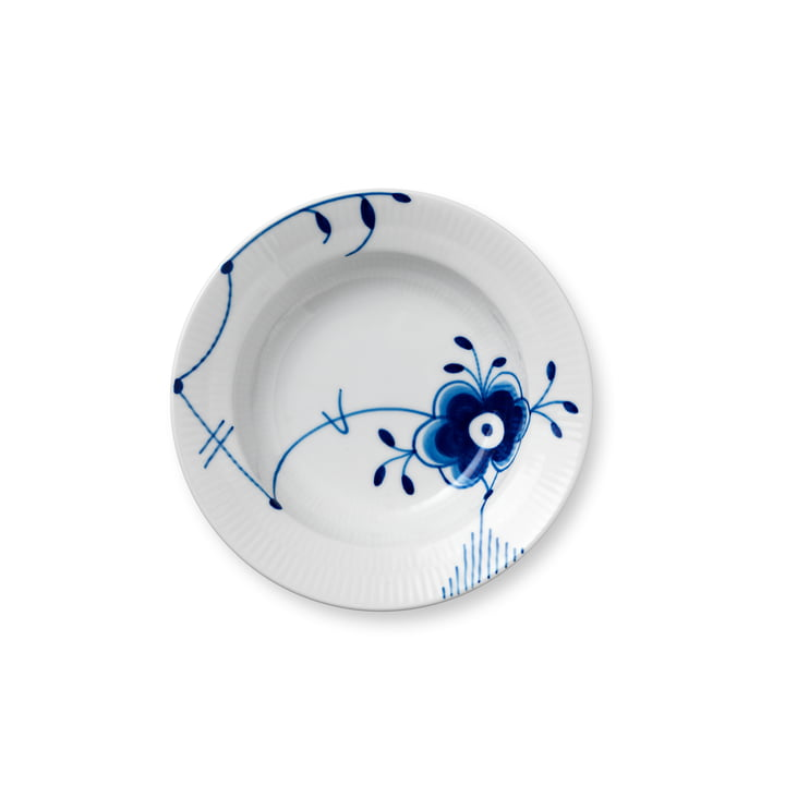 Mega Blue Ribbed Plate deep Ø 17 cm from Royal Copenhagen with decoration no. 6