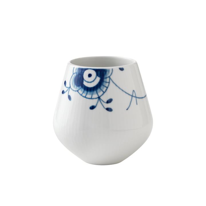 Mega Blue Ribbed Vase small H 12 cm from Royal Copenhagen