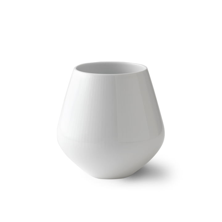 White Ribbed Vase small H 12 cm from Royal Copenhagen