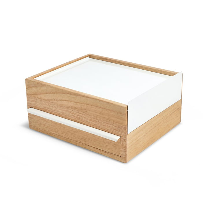 Stowit jewellery box from Umbra in beech / white