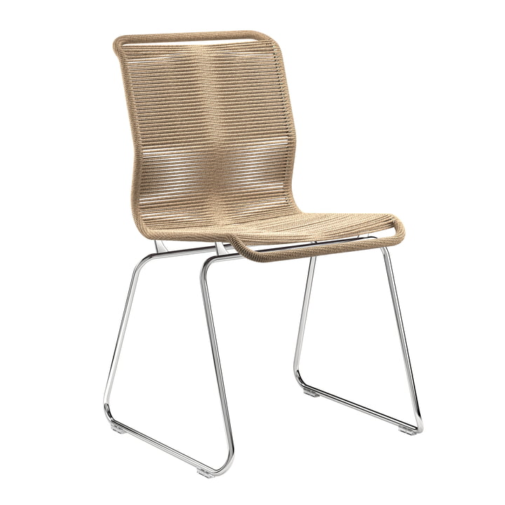 Panton One chair by Montana in paper cord nature / chrome