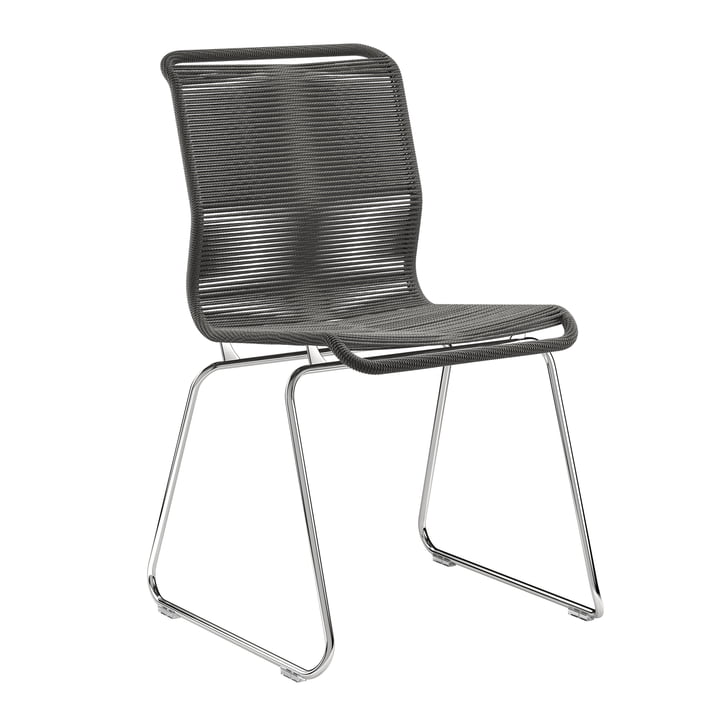 Panton One Chair by Montana in paper cord black / chrome
