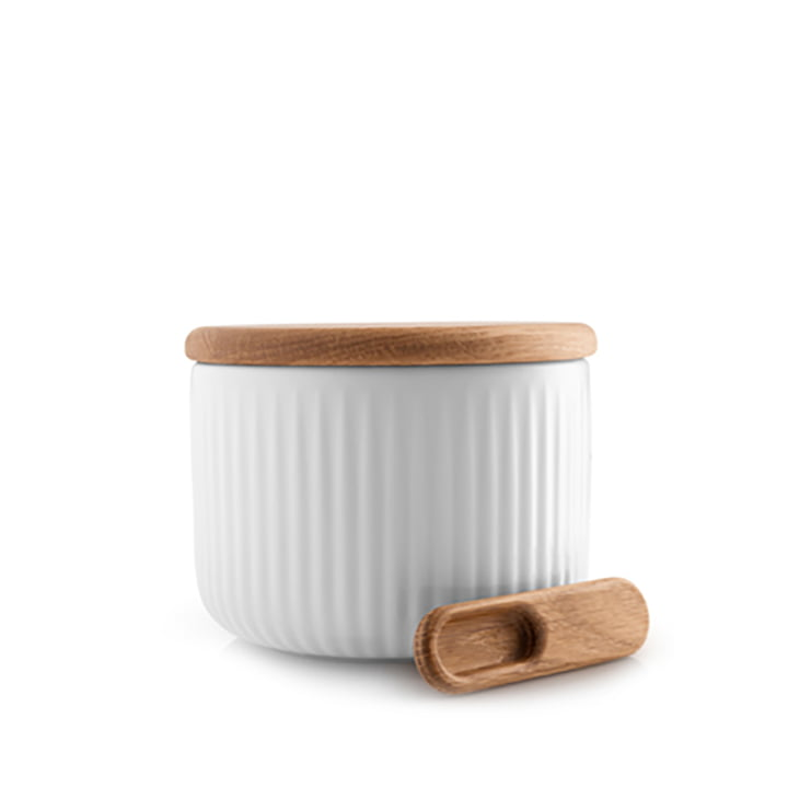 Legio Nova salt box with lid & Spoon of Eva Trio in oak / white