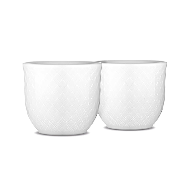 Rhombe egg cup (set of 2) by Lyngby Porcelæn in white
