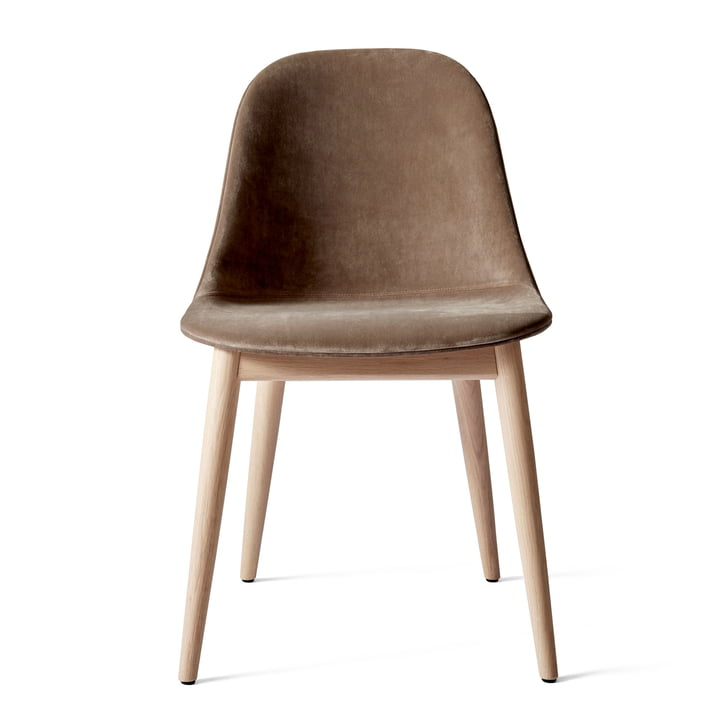 Harbour Dining Side Chair, oak dark stained / brown (City Velvet CA7832/078) by Menu