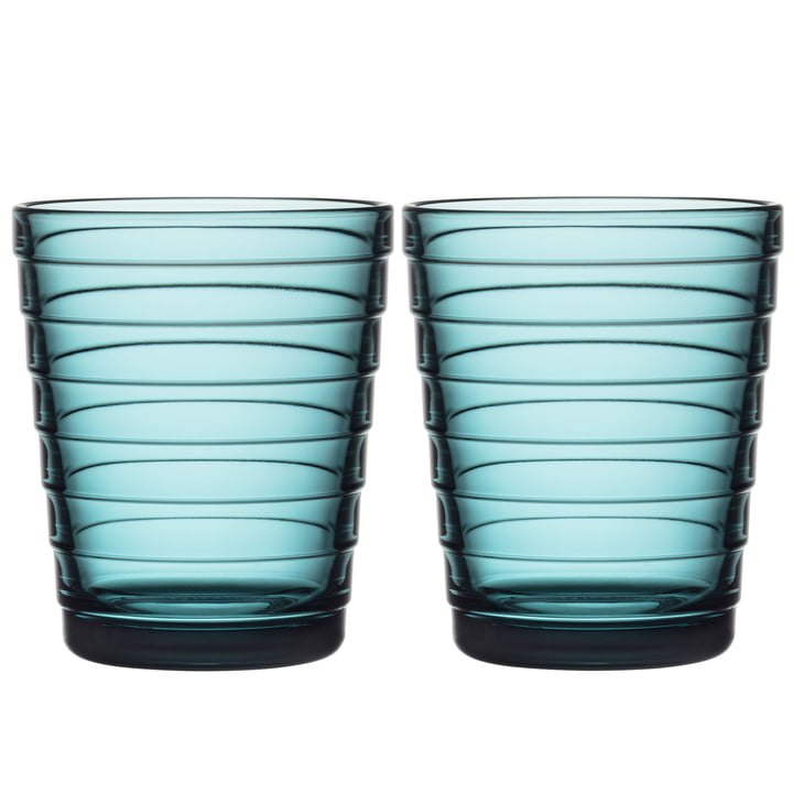 Aino Aalto Glass tumbler 22 cl from Iittala in sea blue (set of 2)