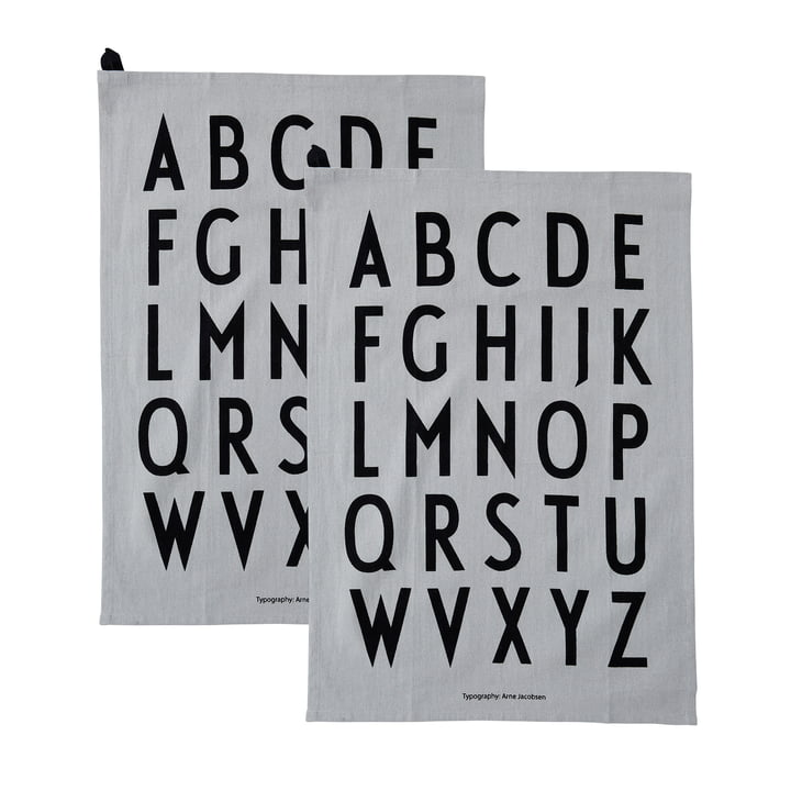 Classic tea towel in grey (set of 2) by Design Letters