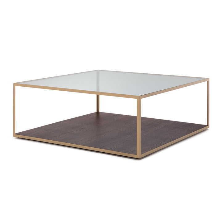 181 Side table 80 x 80 cm free style in clear glass / dark oak / steel pearl gold (RAL 1036)