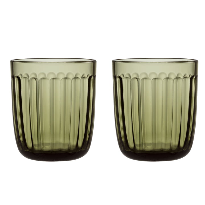 Raami drinking glass 26 cl (set of 2) from Iittala in moss green