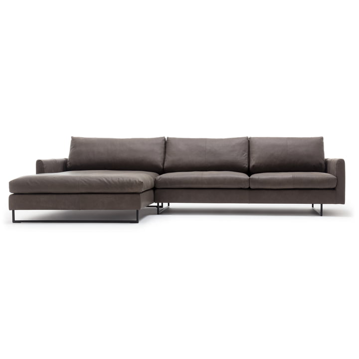 134 Sofa corner with end armchair left of freistil with cover in brown-grey (9225)