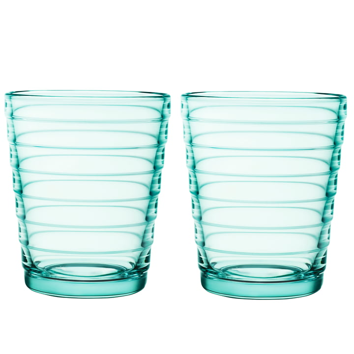 Aino Aalto Glass mug 22 cl in water green (set of 2) by Iittala