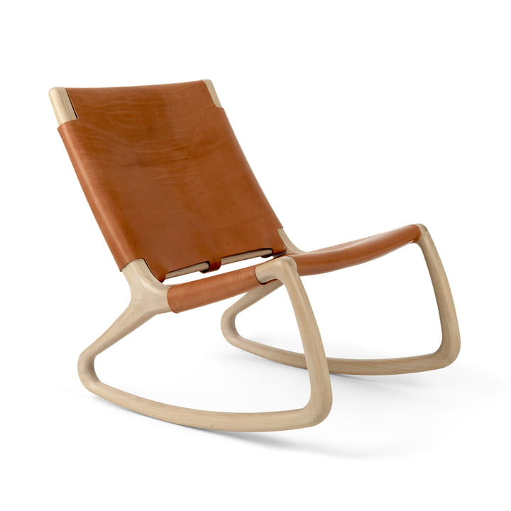 Rocker rocking chair by Mater in oak matt lacquered / Whiskey