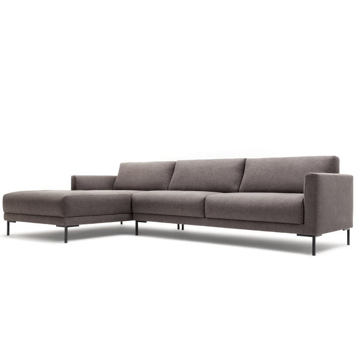 141 sofa corner chaise longue left by freistil with angled foot black / cover gray (1026)