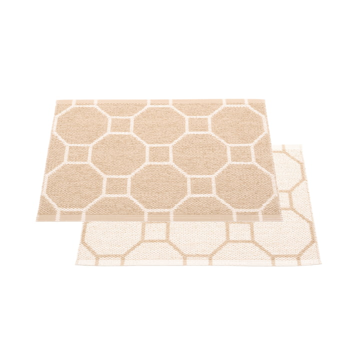 Squeegee reversible carpet, 70 x 50 cm in beige / vanilla by Pappelina