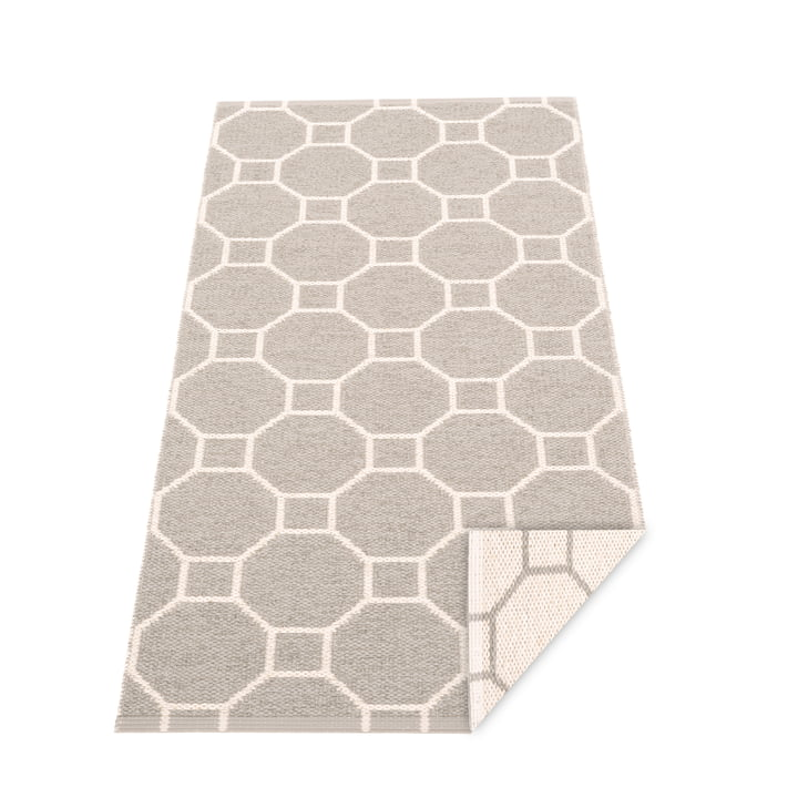 Doctor blade reversible carpet, 70 x 150 cm in warm grey / vanilla by Pappelina