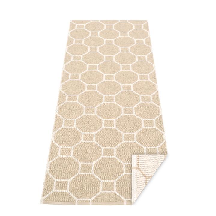 Doctor blade reversible carpet, 70 x 225 cm in beige / vanilla by Pappelina