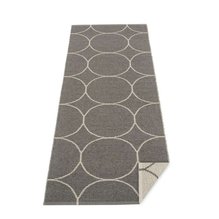Boo reversible carpet, 70 x 200 cm in charcoal / linen by Pappelina
