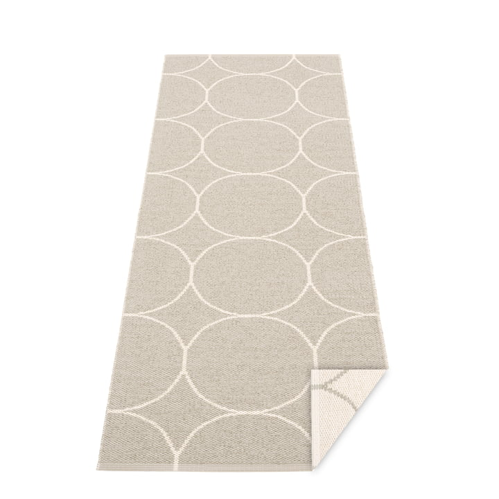 Boo reversible carpet, 70 x 200 cm in linen / vanilla by Pappelina