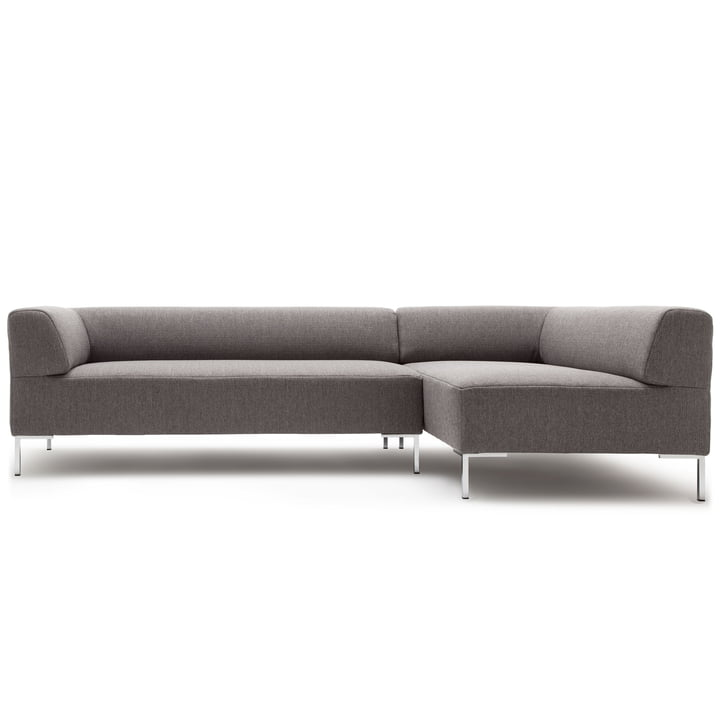 185 Sofa corner right of freistil with angled foot chrome / cover signal grey (1012)