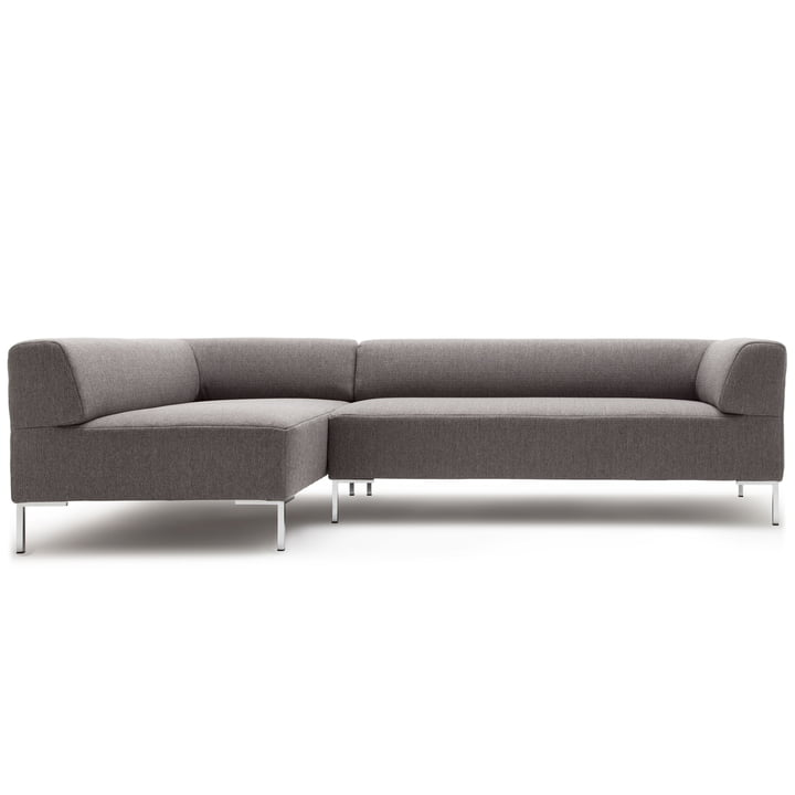 185 Sofa corner recamiere left by freistil with angle foot chrome / cover signal grey (1012)