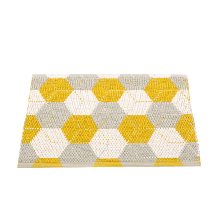 Trip reversible carpet, 70 x 50 cm in mustard / linen / vanilla by Pappelina