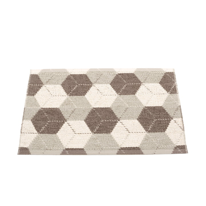 Trip reversible carpet, 70 x 50 cm in dark mud / linen / vanilla by Pappelina