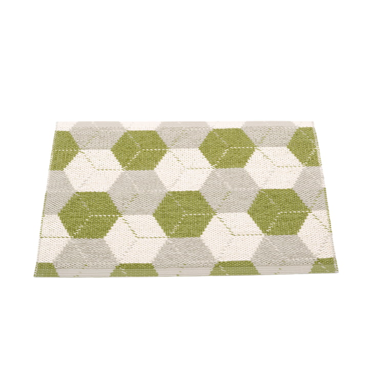 Trip reversible carpet, 70 x 50 cm in olive / linen / vanilla from Pappelina