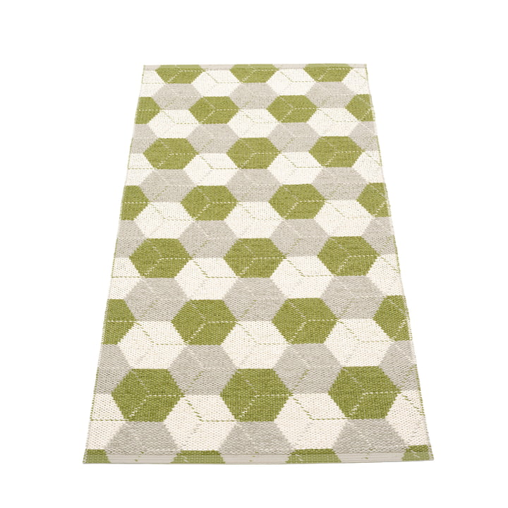 Trip reversible carpet, 70 x 150 cm in olive / linen / vanilla from Pappelina