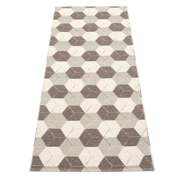 Trip reversible carpet, 70 x 240 cm in dark mud / linen / vanilla by Pappelina
