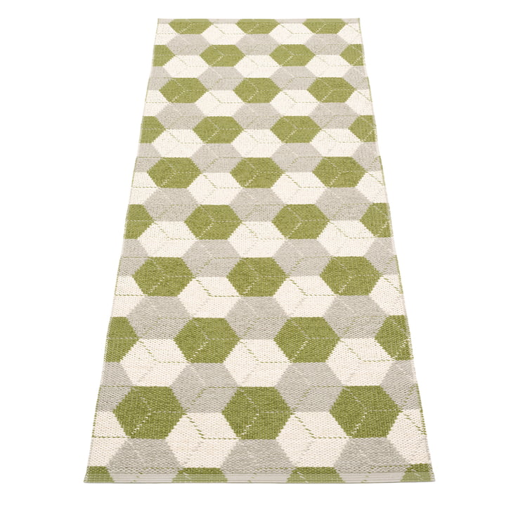Trip reversible carpet, 70 x 240 cm in olive / linen / vanilla from Pappelina
