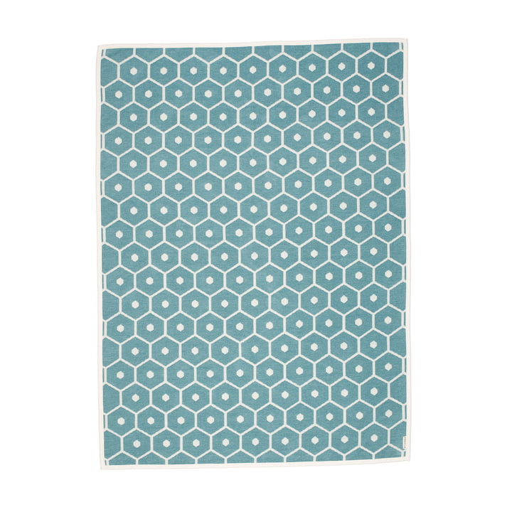 Honey blanket, 140 x 180 cm in turquoise by Pappelina