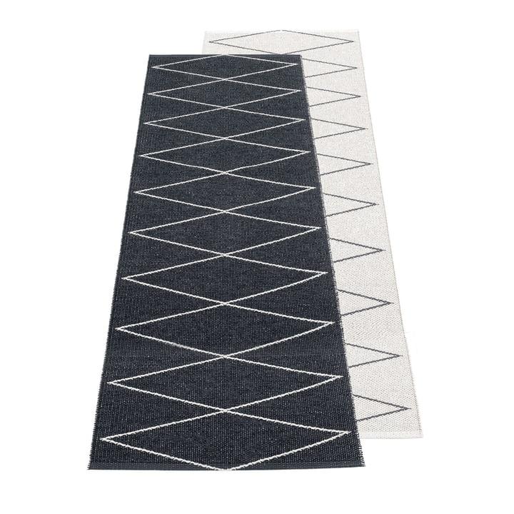 Max reversible carpet, 70 x 240 cm in black / vanilla by Pappelina