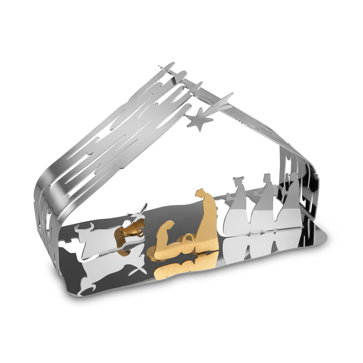 Bark crib from Alessi in stainless steel / steel gold