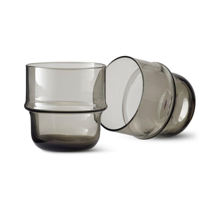 Unda glass (set of 2) in grey by Design House Stockholm