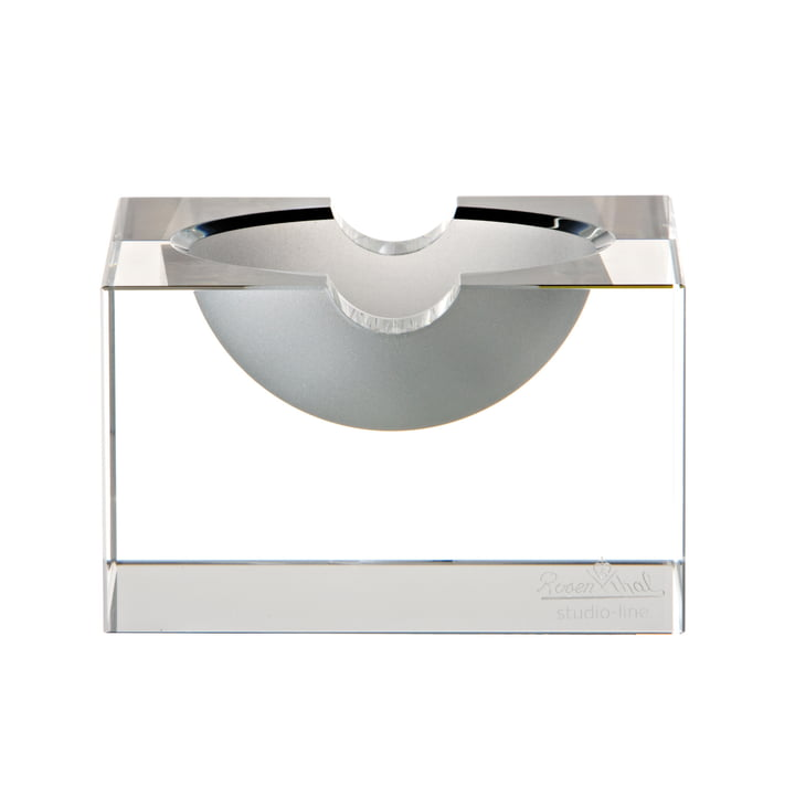 Block glass ashtray from Rosenthal in clear