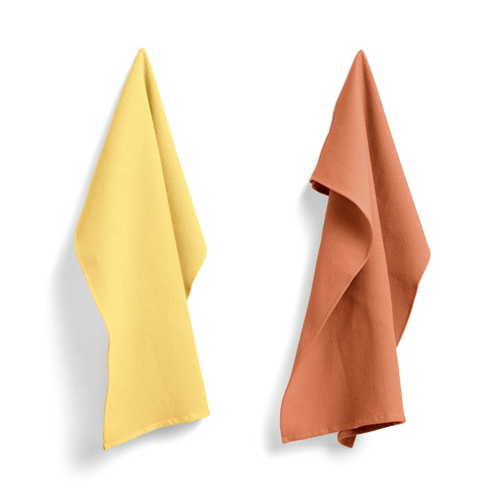 Waffle tea towel 75 x 52 cm from Hay in terracotta / yellow (set of 2)