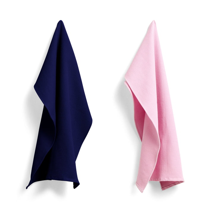 Waffle tea towel 75 x 52 cm from Hay in cool rose / midnight blue (set of 2)