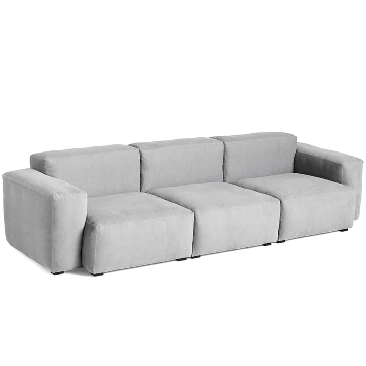 Mags Soft Sofa 3-seater combination 1 armrest low from Hay in light grey (Linara 443) / stitching: tone-on-tone