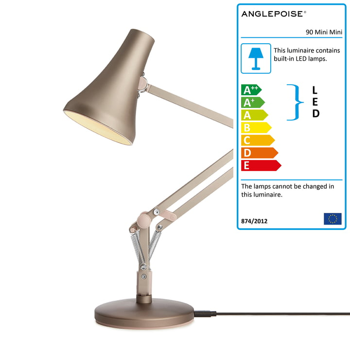 90 Mini Mini LED table lamp by Anglepoise in warm silver / blush
