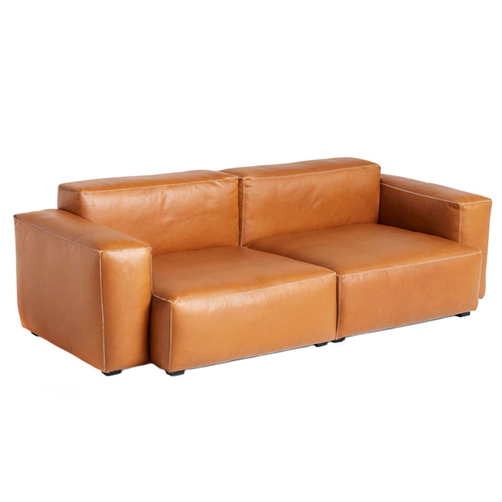 Mags Soft Sofa 2,5-seater combination 1 armrest low by Hay in leather Cognac (Sil0250) / seams light grey