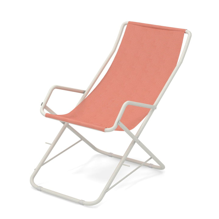 Bahama deckchair by Emu in white / raspberry