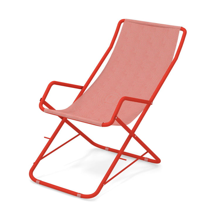 Bahama deckchair by Emu in scarlet / red