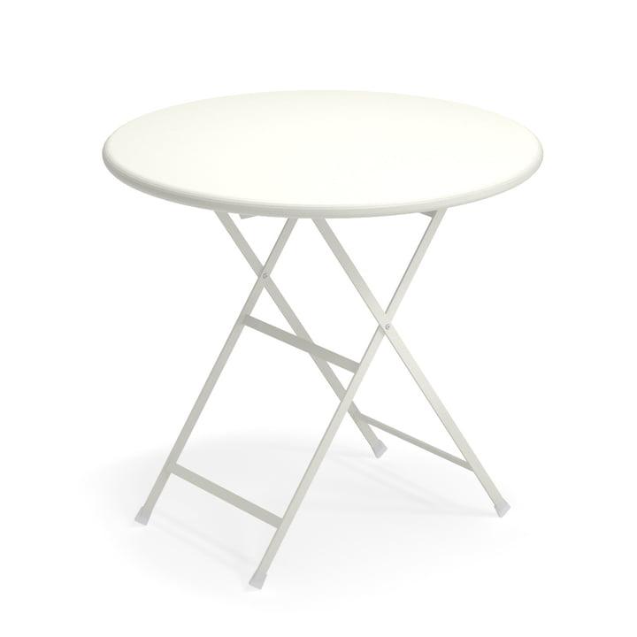 Arc en Ciel folding table, Ø 80 x H 74 cm in white by Emu