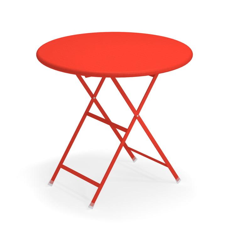 Arc en Ciel folding table, Ø 80 x H 74 cm in scarlet red by Emu