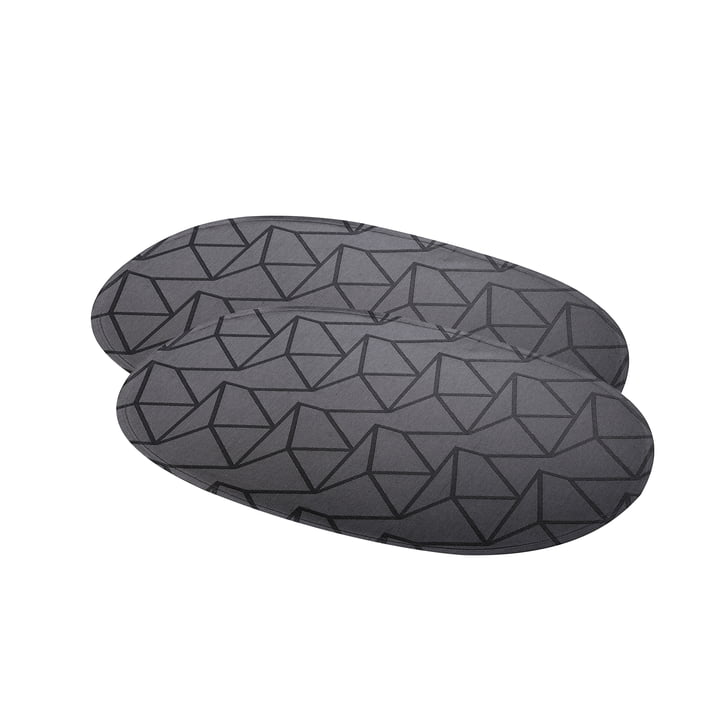 Arne Jacobsen placemat oval 50 x 37 cm by Georg Jensen Damask in anthracite (set of 2)