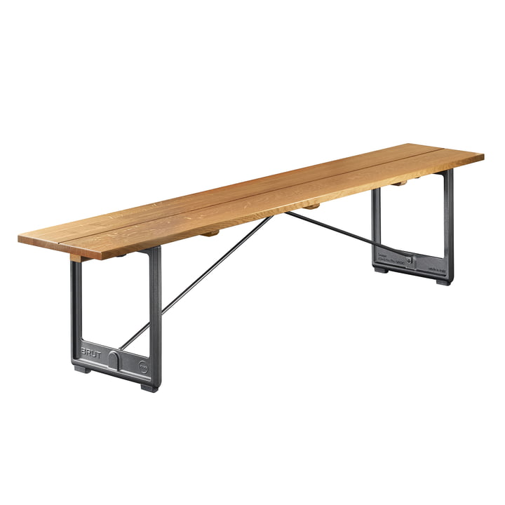Brut bench small, 220 x 35 cm in anthracite grey / oak solid by Magis