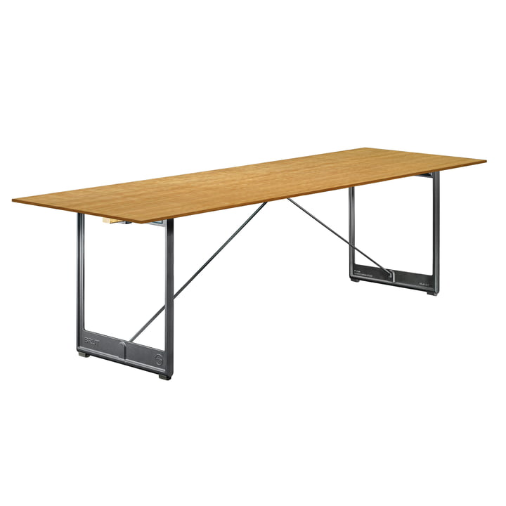 Brut dining table, 205 x 85 cm in anthracite grey / oak veneer by Magis