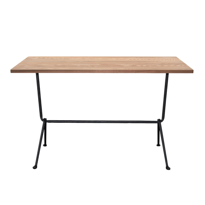 Officina bistro table H 72 cm, 80 x 55 cm in anthracite grey / walnut by Magis