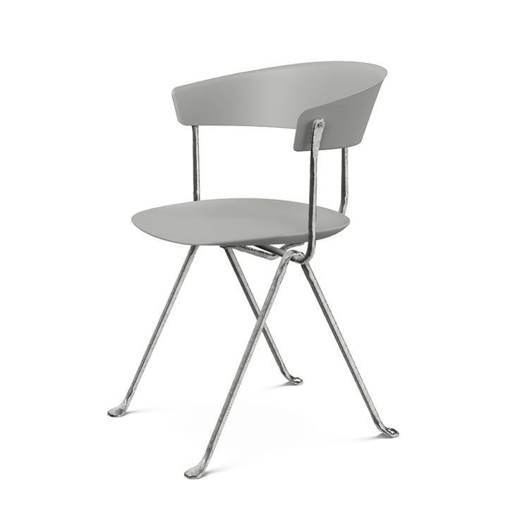 Officina chair in zinc plated / grey metallic by Magis