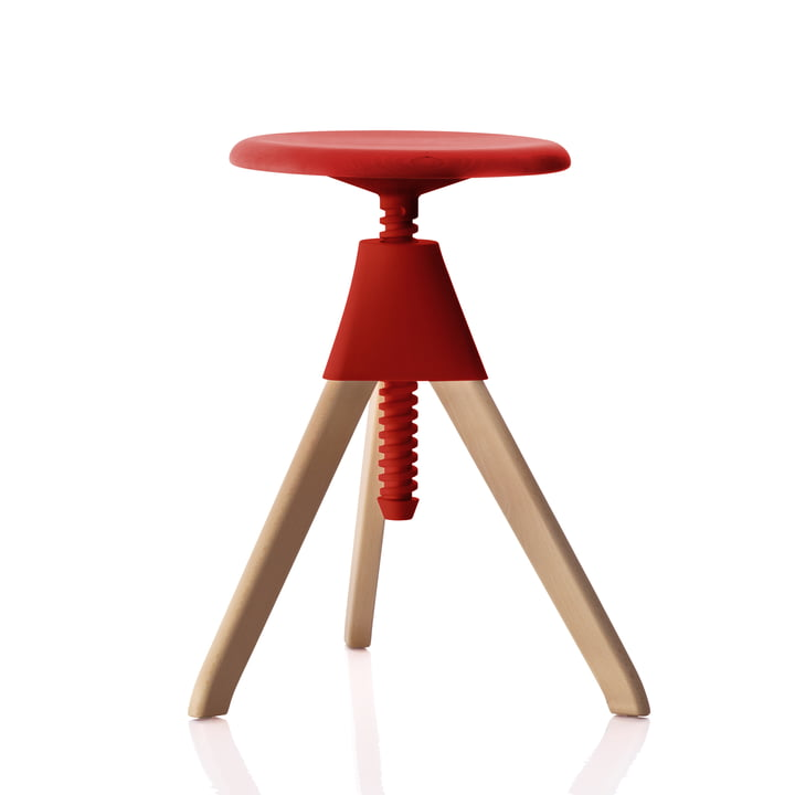 Jerry The Wild Bunch stool (50-66 cm) in beech / red by Magis
